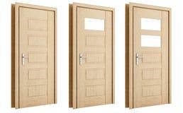 Porta di legno isolata su bianco Fotografie Stock Libere da Diritti