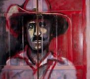 Porta dipinta con Augusto Sandino Immagine Stock Libera da Diritti