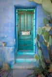Porta dipinta turchese con il cactus nel sud-ovest Immagine Stock