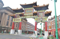 Porta do bairro chinês em Nelson Street em Liverpool, Inglaterra Fotos de Stock Royalty Free