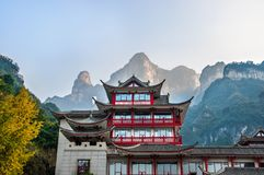 A porta do céu de Tianmen Shan na montanha de Tianmen fotos de stock royalty free