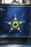 Porta do decalque do logotipo do xerife do carro do vintage imagens de stock royalty free