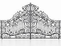 Porta do ferro forjado isolada no fundo branco ilustração 3D ilustração royalty free