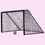 Porta do futebol, bola de futebol na porta Fotos de Stock