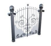Porta do metal com o ornamento no fundo branco rendição 3d Imagem de Stock