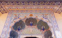 Porta do pavão no palácio da cidade de Jaipur, Rajasthan, Índia Imagens de Stock Royalty Free