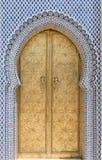Porta dourada no fez, Morroco Fotografia de Stock