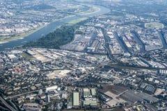 Porta Dusseldorf di vista aerea Fotografia Stock Libera da Diritti