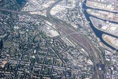 Porta Dusseldorf di vista aerea e deposito di spavento Immagini Stock
