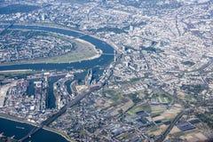 Porta Dusseldorf di vista aerea sul fiume il Reno Fotografia Stock Libera da Diritti