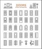 Porta e acessórios Linha grupo do ícone ilustração stock