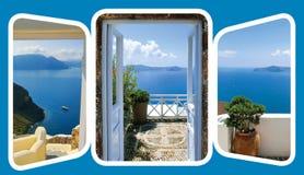 A porta e as escadas abertas, conduzindo ao mar ajuste das vistas em Oia, Santorini, Grécia Fotografia de Stock Royalty Free