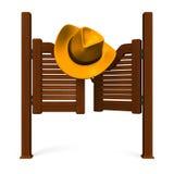 Porta e cappello occidentali Front View Fotografia Stock Libera da Diritti