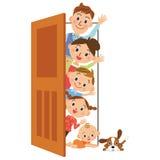 Porta e famiglia Fotografie Stock
