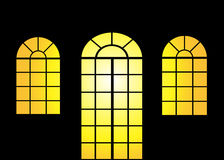 Porta e janela no por do sol ilustração royalty free