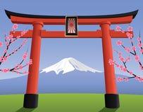 Porta e montanha japonesas de Fuji Fotografia de Stock Royalty Free