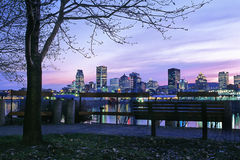 Porta e skyline de Montreal Imagem de Stock Royalty Free