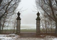 Porta em um campo nevoento fotos de stock
