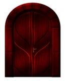 A porta escura com arco curvado ilustração do vetor