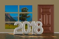 Porta fechado no salão 2018 anos ilustração 3D ilustração do vetor