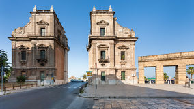 Porta Felice is monumental gateway in Palermo city. PALERMO, ITALY - JUNE 24, 2011: Porta Felice is monumental gateway in La Cala old port in Palermo city. Porta Royalty Free Stock Images