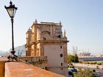Porta Felice triumphal gateway in Palermo. Porta Felice - baroque triumphal gateway in La Cala (old port), Palermo, Sicily Royalty Free Stock Photos