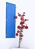 Porta & flores azuis Imagens de Stock Royalty Free