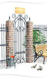 Porta forjada no parque Fotografia de Stock Royalty Free