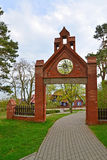 Porta gótico em Nida, Lituânia foto de stock