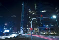 Porta Garibaldi distric in Milan, Italy night scene. Modern skyscraper in the new business district Porta Garibaldi in Milan, night scene long exposure royalty free stock photography
