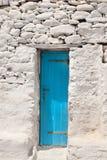 Porta greca tradizionale sull'isola di Mykonos Fotografia Stock