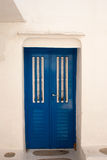 Porta greca tradizionale sull'isola di Mykonos Immagini Stock