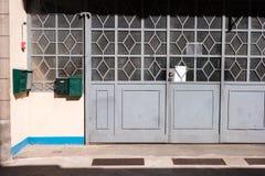 Porta grigia del metallo Immagini Stock