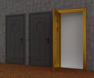 Porta grigia e porta dell'oro Fotografia Stock Libera da Diritti