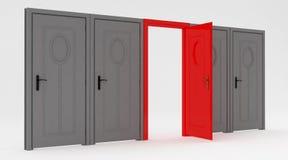 Porta grigia e porta rossa Immagine Stock
