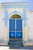 Porta histórica azul Imagem de Stock
