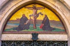 Porta Luther Crucifixion Mosaic Castle Church Wittenber de 95 teses foto de stock royalty free
