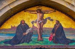 Porta Luther Crucifixion Mosaic Castle Church Wittenber de 95 teses fotos de stock royalty free