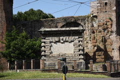 The Porta Maggiore (Larger Gate),. Or Porta Prenestina, is one of the eastern gates in the ancient but well-preserved 3rd-century Aurelian Walls of Rome royalty free stock photo