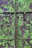 Porta manchada verde do metal Fotos de Stock