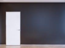 Porta moderna chiusa bianca su Gray Wall Fotografie Stock Libere da Diritti