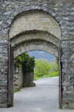 Porta Montanina in der Wand um Cortona Stockbild