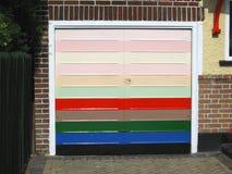 Porta Multicoloured del garage Fotografia Stock Libera da Diritti