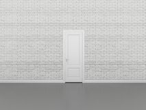 Porta na parede de tijolo branca, 3d Foto de Stock