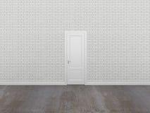 Porta na parede de tijolo branca, 3d Imagem de Stock Royalty Free