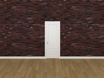 Porta na parede de tijolo velha, 3d Fotografia de Stock