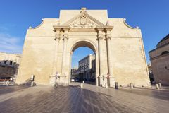 Porta Napoli in Lecce. Lecce, Apulia, Italy royalty free stock images