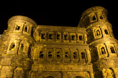 Porta negra in trier at night Royalty Free Stock Photos