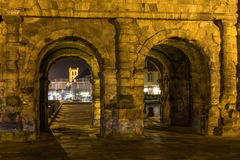 Porta negra in trier at night Stock Photography