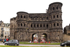 Porta Nigra with Marx Installation Royalty Free Stock Photos